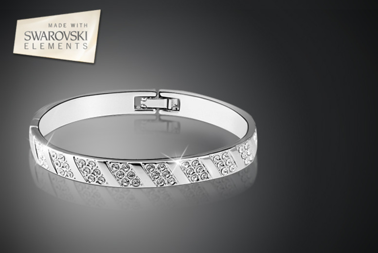 £10 instead of £67.01 (from Amelia Ella) for an 18k white gold plated bangle with Swarovski Elements - save 85%
