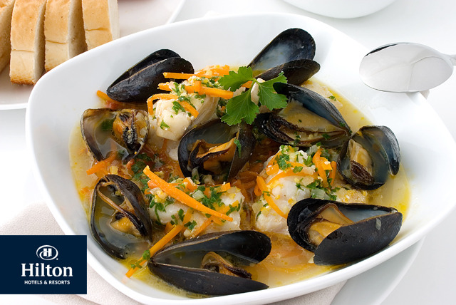 £24 instead of £73 for 1kg of mussels & 2 glasses of sparkling wine each for 2 with The Larder Restaurant at Hilton Tower Bridge - save up to 67%