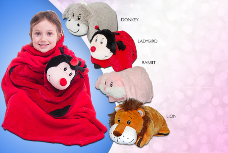£13.99 instead of £27.99 (from Prime Emporium) for a donkey, ladybird, lion or rabbit pillow pet blanket - save 50%