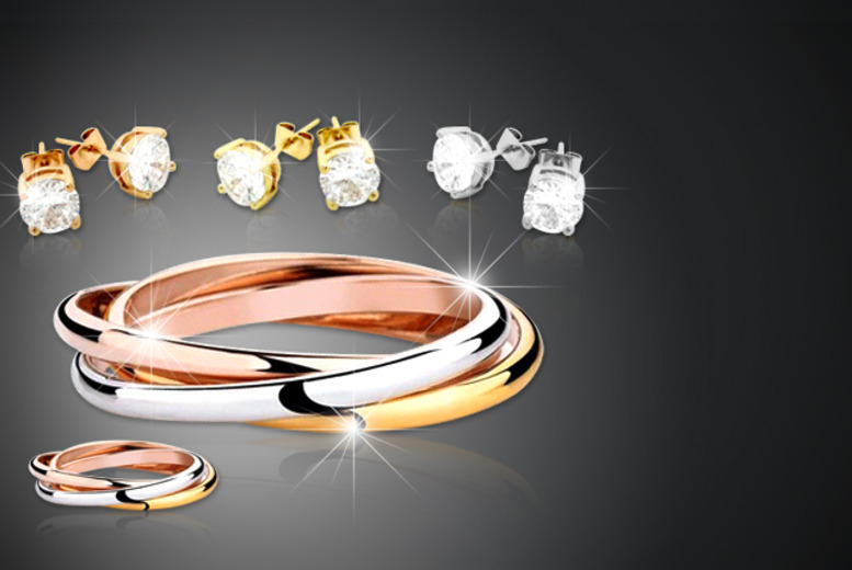 £19 instead of £200 (from Cian Jewels) for a 5 piece tri-colour jewellery set inc. earrings, bracelet and ring – save 90%