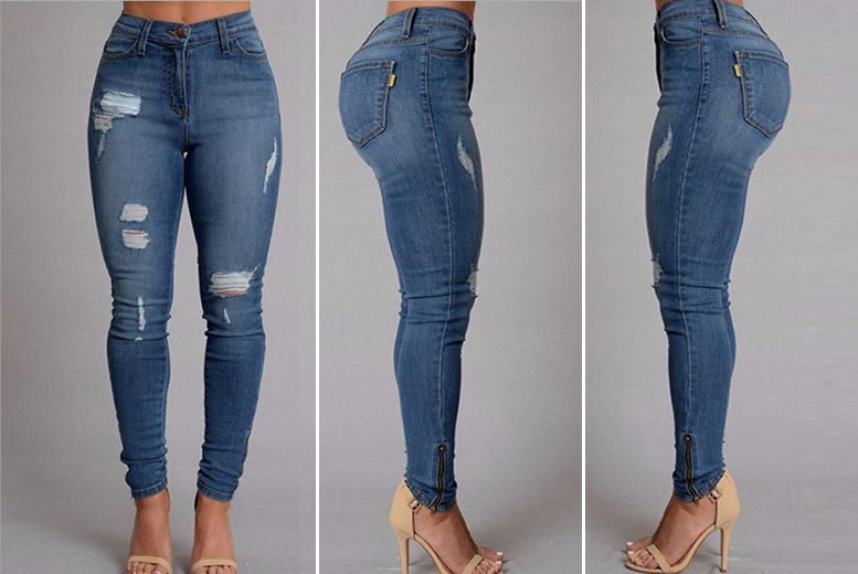 £9.99 instead of £77 (from EFMall) for a pair of women's trendy ripped skinny jeans - save 87%