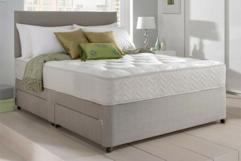 From £79 instead of £499 for a Dreyton divan bed and memory foam mattress from Dining Tables – save up to 84%