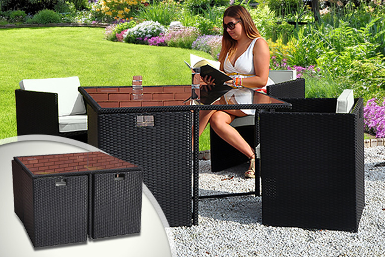 £299 for a black rattan outdoor dining table and cube chair set from Kingfisher!