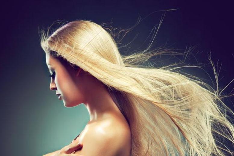 £39 for a half head of highlights or full head of colour, condition, cut, blow dry and a glass of bubbly at Karda Hair & Beauty, Kensington - save up to 70%