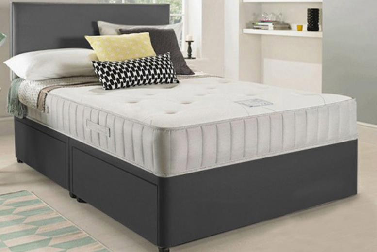 From £79 for a small single luxury grey fabric divan bed from Dining Table