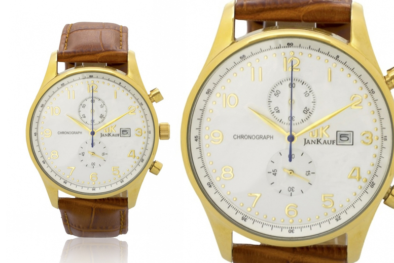 Image of Jan Kauf Jk1037 Leather Watch | Brown | Living Social