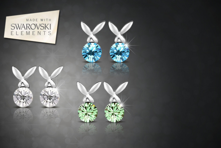 £10 instead of £100 (from Boni Caro) for 3 pairs of white gold plated bunny earrings - save 90%