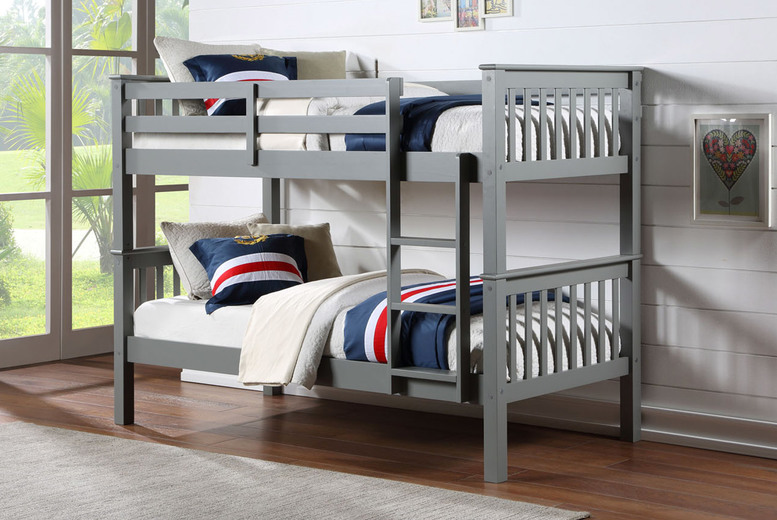 From £209 for an Oxford wooden bunk bed, or from £299 for a bunk bed with two optional mattresses in a choice of grey, black or white from The Furniture Department!