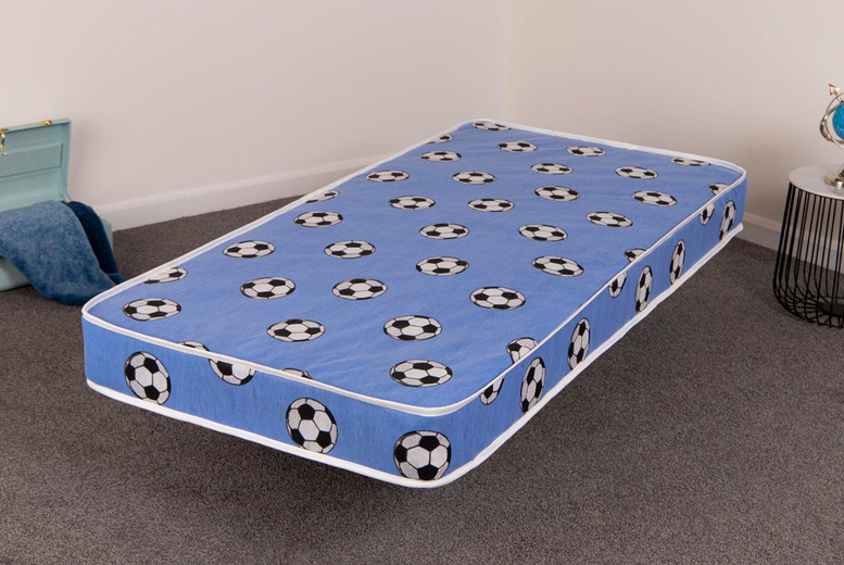 From £25 for a kids single open coil spring football mattress in red or blue from Desire Beds!