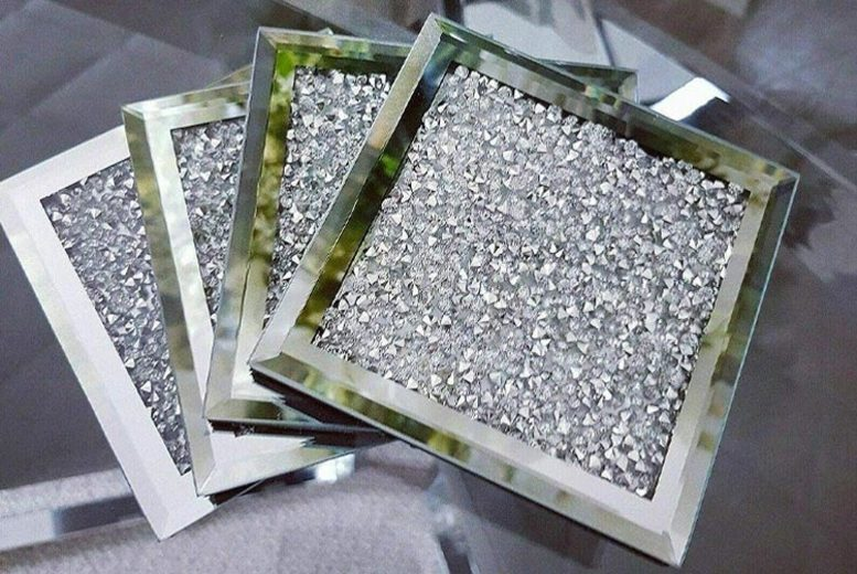 £12.99 for a set of four crushed diamante coasters from Discounted Price LTD T/A Salt Lamps-UK