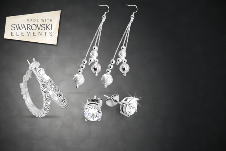£10 instead of £110 (from Cian Jewels) for your choice of four 3-piece Swarovski Elements earring sets, or £30 for all four sets - save up to 91%