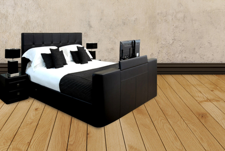 £399.95 instead of £1099 (From Fishoom) for a king size faux leather ottoman storage TV Bed frame - save 64% + DELIVERY INCLUDED!