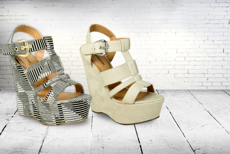 £14.99 instead of £25.01 for a pair of London Rebel open-toe platform wedges from Wowcher Direct - save 40%