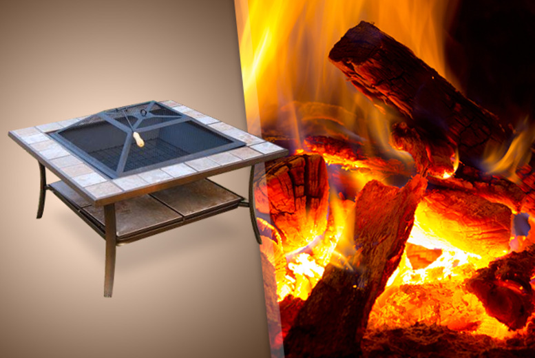 £99 (from Aosom) for an outdoor fire pit with cover, or £119 for a 2-in-1 fire pit and BBQ Stove