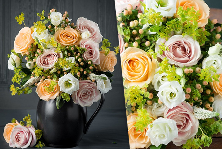 £29.99 instead of £44.99 (from Appleyard London) for a luxury bouquet of flowers including roses, lisianthus and sugar flair hypericum berries - save 33%
