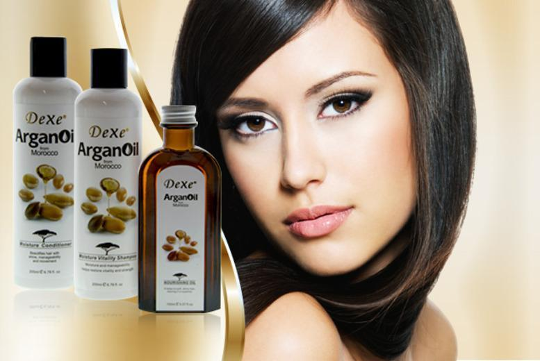 £12 instead of £57.99 (from DVA Beautique) for a 3pc Argan Oil hair pamper pack inc. shampoo, conditioner and oil - save 79%