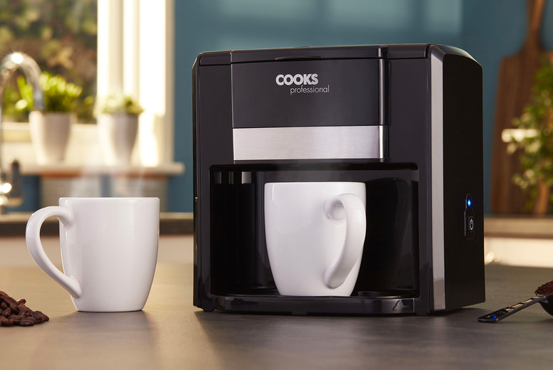 �9.99 instead of �49.95 for a Cooks Professional two-cup coffee maker for a from CJ Offers - save 80%