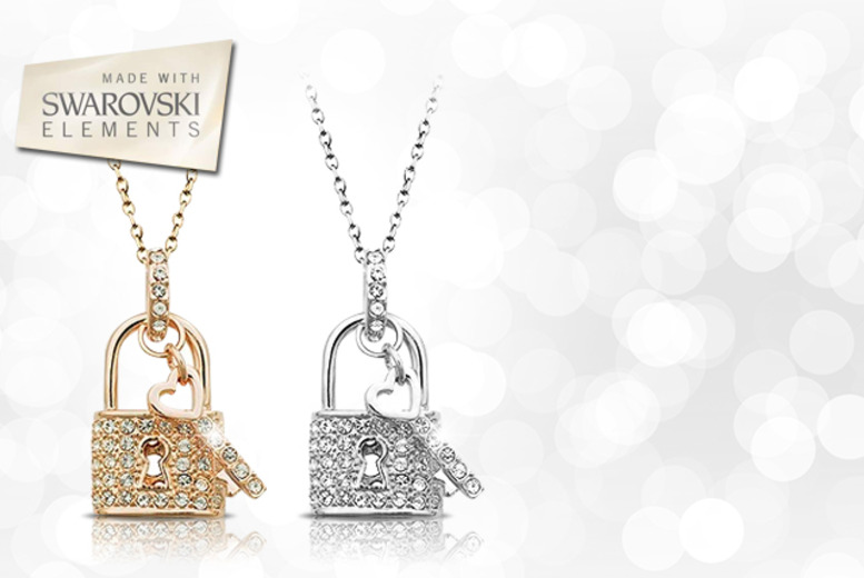 £10 instead of £68 (from Evoked Design) for a Swarovski Elements lock and key pendant necklace - save 85%