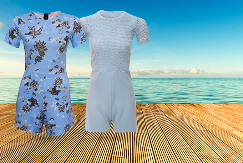 £10.99 instead of £39.99 (from The Digital Warehouse) for a TOWIE-inspired playsuit in plain white, black or pale blue or a blue floral design - save 73%