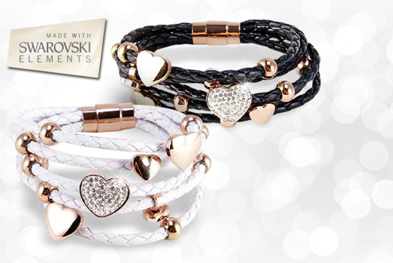 £10 instead of £49.95 (from Simply 18k) for a Swarovski Elements black or white leather heart bracelet, £15 for both - save up to 80%