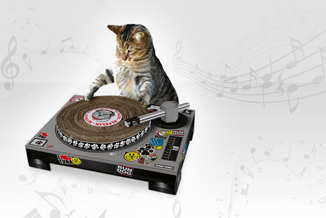 £12 instead of £20 a mixing deck-shaped cat scratching pad – watch your cat hit the DJ decks and save 40%