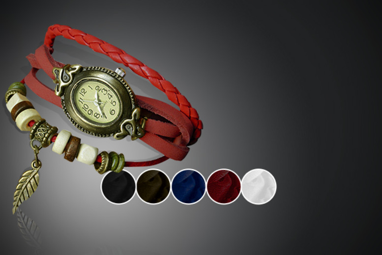 £8 instead of £45 (from Cerichic) for a vintage leather wraparound bracelet watch in a choice of two designs - save 82%