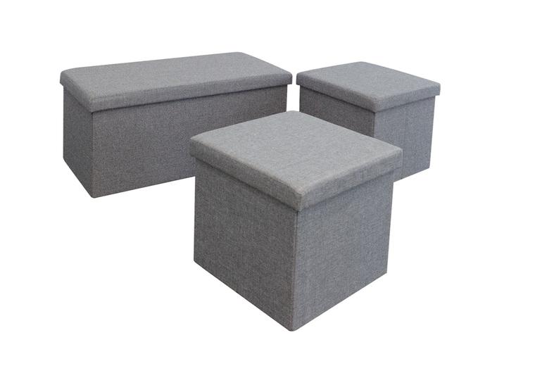 Image of 3 Ottoman Storage Boxes | Grey | Living Social