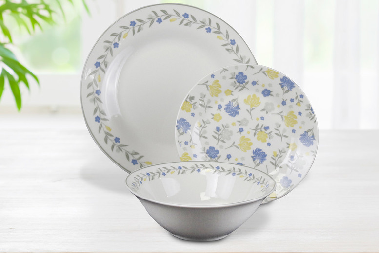 £19.99 for a 12-piece Belle table plate set - includes dinner plates, side plates, rice bowls and mugs!