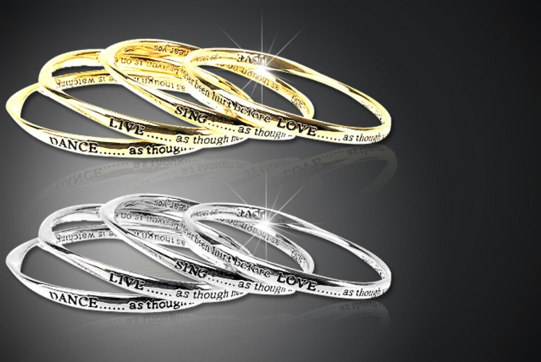 £12 instead of £19.01 for a 4-piece engraved 'Love-Live-Sing-Dance' bangle set from Wowcher Direct - save a glamorous 37%