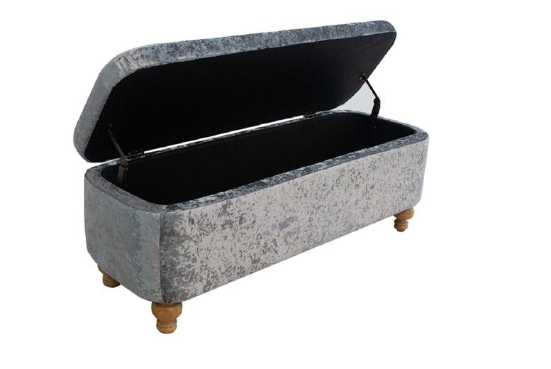 Crushed Velvet Ottoman Storage Bench Deal Wowcher