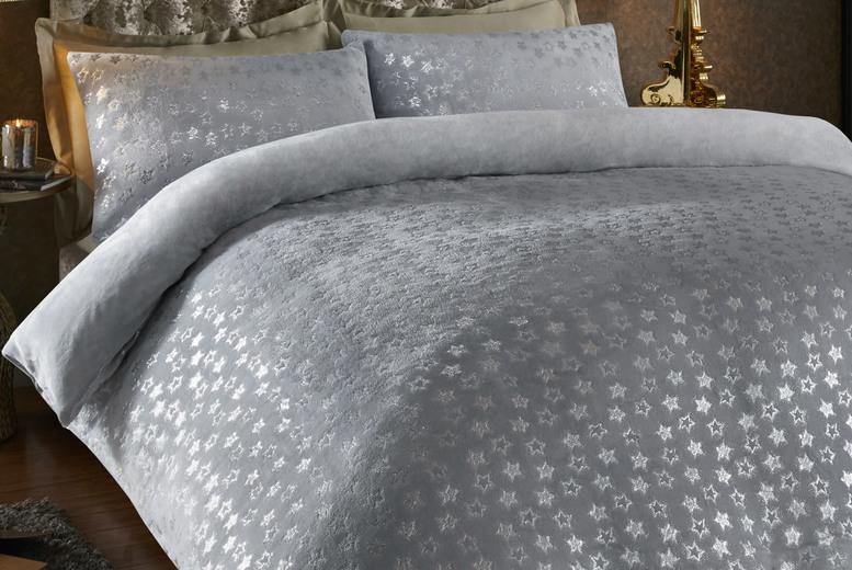 teddy-fleece-star-foil-duvet-cover-set