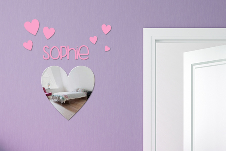 £8.99 instead of £21.50 (from Mungai Mirrors) for a personalised heart or butterfly mirror with matching stickers - save 58%
