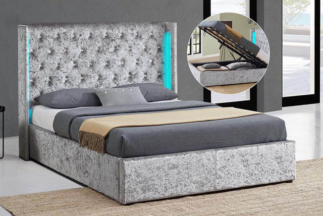 Crushed Velvet LED Ottoman Bed Frame 2 Colours 2 Sizes
