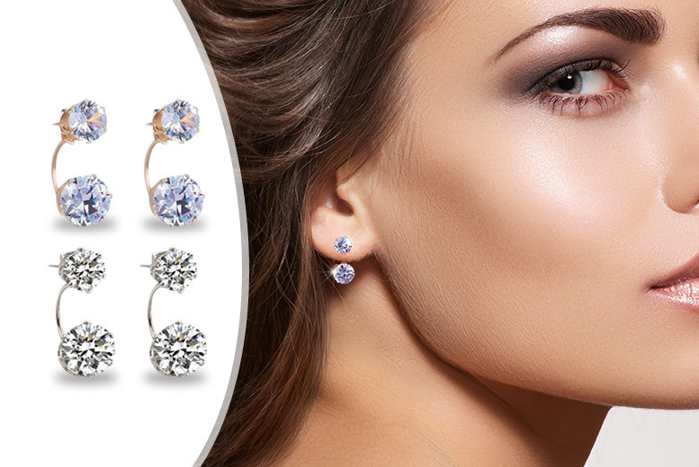 £10 instead of £109.98 (from Fakurma) for two pairs of double crystal stud earrings - save 91%