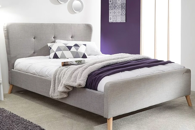 From £199 instead of £399.99 for a double grey winged tufted bed or £219 for a king size with mattress options from FTAFurnishings – save up to 50%