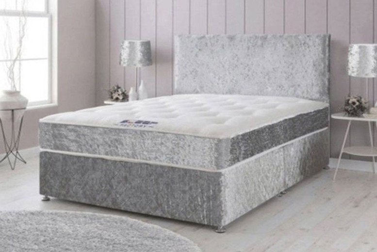 From £69 instead of £399.99 for a small single divan crushed bed frame with mattress options in silver or black, choose from five sizes from FTAFurnishings! – save 83%