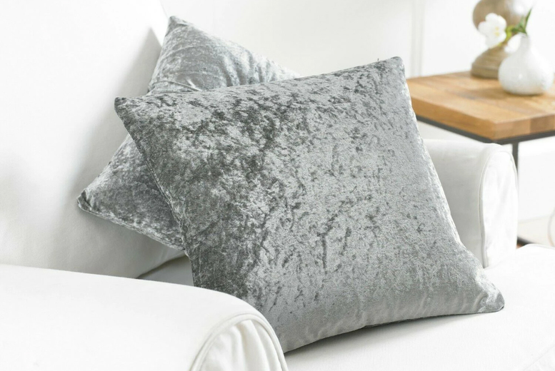 £8.99 for a twin pack of crushed velvet 17€ x 17€ cushion covers or £10.99 for 20€ x 20€ covers from Home Decoration World!