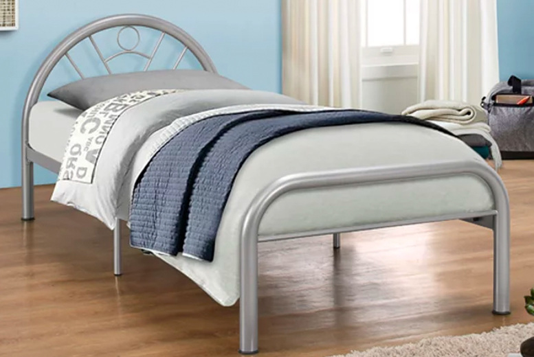 £69 instead of £199.99 for a children's 3ft single metal curved bed frame, £165 with a memory sprung mattress from FTA Furnishing – save up to 65%