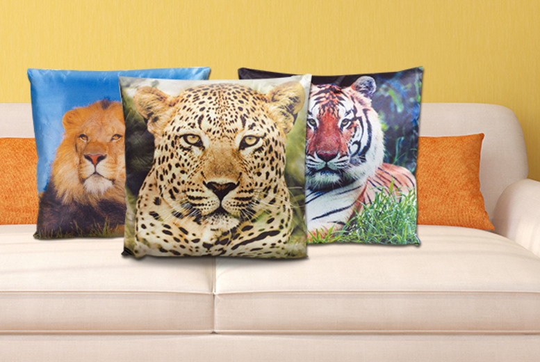 £5 instead of £10.49 for a tiger, lion or leopard cushion or £13.50 for a set of all 3 from Wowcher Direct – save up to 52%