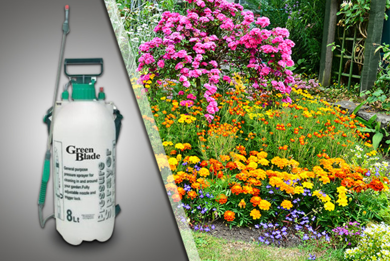 £9.95 (from HTG Direct) for an 8-litre garden knapsack pressure spray for fertiliser, weed killer and more - save 50% + DELIVERY INCLUDED