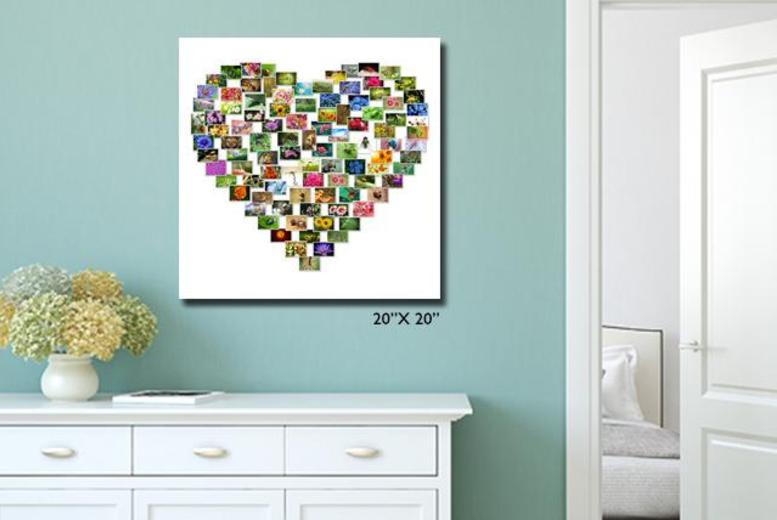 £14.99 instead of £50 (from YA2C) for a medium heart montage canvas, or £24.99 for large - save up to 70%