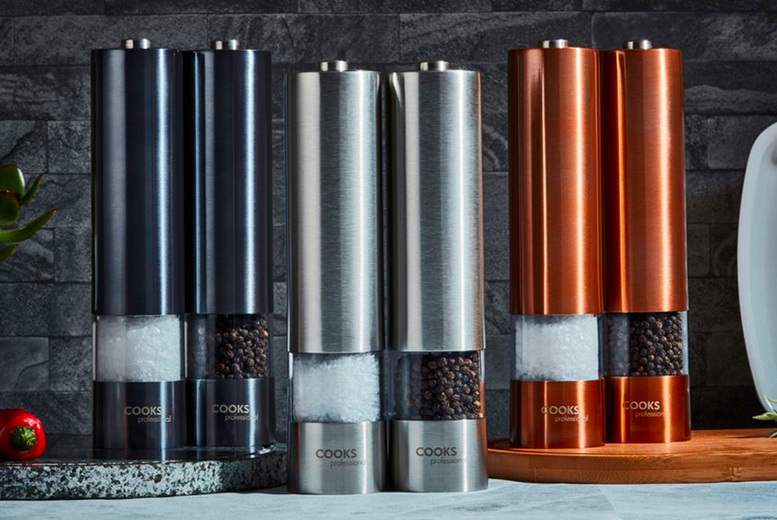 £11.99 instead of £21.99 for a set of electric salt and pepper mills, £14.99 for a set of mills with batteries from CJ Offers - save up to 45%
