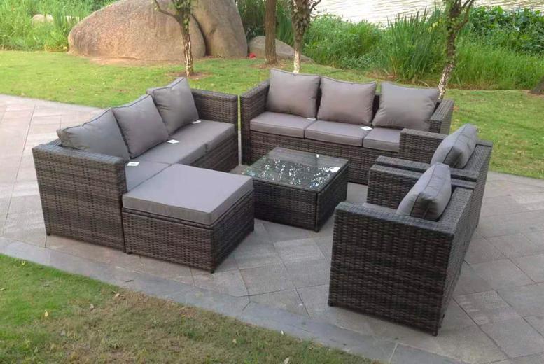 9 Seater Rattan Garden Furniture Set, Grey Rattan Garden Furniture Sets Uk