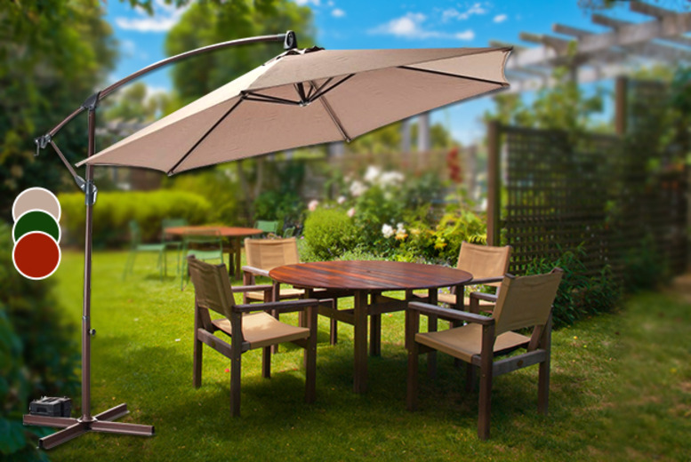 £65 instead of £138 (from Groundlevel) for a 3-metre banana parasol in a choice of green, natural or terracotta colours - save 53%