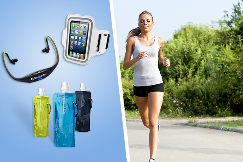 £16.99 instead of £69.99 (from Gizmo Gadgets) for a 'Get Fit Kit' inc. Bluetooth headset, water bottle and running armband - save 76%