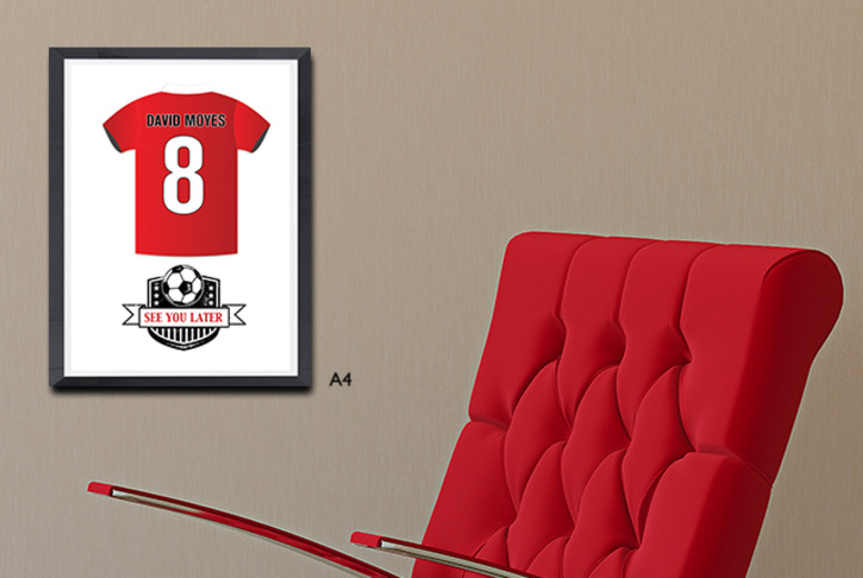 £6.99 (from Prints with Feelings) for an A4 personalised football shirt print in a choice of designs, or £9.99 with a choice of frame - save up to 50%