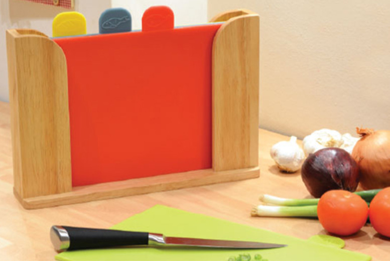 £13 (from Jean-Patrique) for a 5-piece colour-coded chopping board set inc. a Perspex storage block, £15 inc. a wooden storage block - save up to 67%