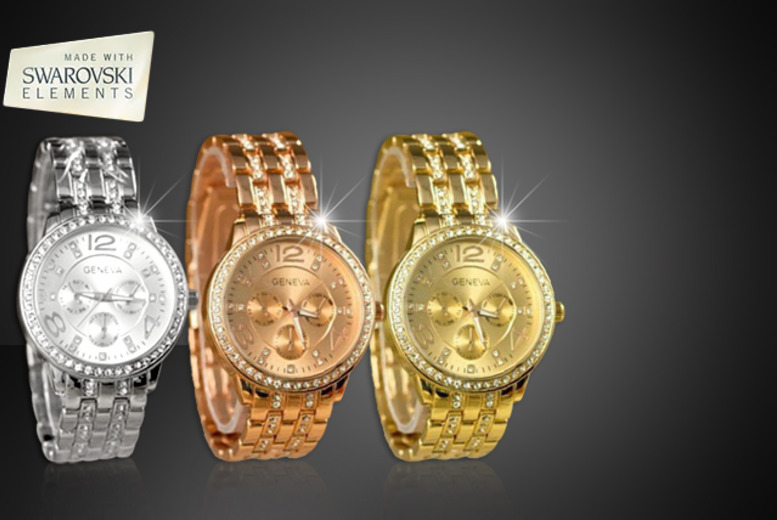 £12 instead of £44.99 (from Marcus Emporium) for a luxury Geneva watch with Swarovski Elements - save 73%