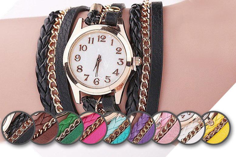 Faux Leather Wraparound Bracelet Watch
