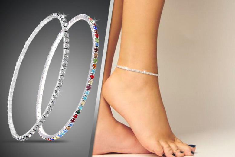 £6 instead of £45 (from Cian Jewels) for a silver-plated anklet with over 50 clear or multi-coloured crystals, £10 for both - save up to 87%